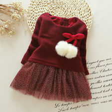 Kids Toddler Baby Girl Long Sleeve Knitted Bow Tutu Princess Party Dress Clothes