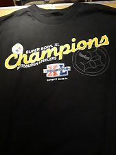 Pittsburgh Steelers Super Bowl XL 40 Champions Black T-Shirt Men's 2XL XXL