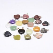 10 Gemstone Heart Charms Pendants 15mm Mixed Colours Jewellery Making (006)