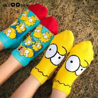 1 Pair Simpsons Cartoon Funny Happy Family Man Woman Cotton Socks Short Ankle