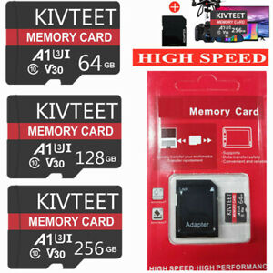 KIVTEET 256 128 64GB Micro Memory SD Card 275MB/S C10 SDXC Flash TF Card Phone