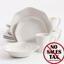 Fleur de Lis 16 piece White Dinnerware Dishes Set Dinner Plates Dish Kitchen Cup