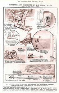 Patent Office.Inventions.1921.Golf.Roller skating.Fan.Military.Billiards.Sport