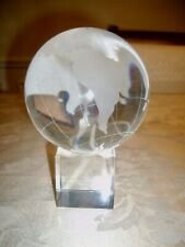 """FINE HEAVY CRYSTAL WORLD GLOBE W/ STAND SCULPTURE 4"""" EARTH MAP PAPERWEIGHT"""