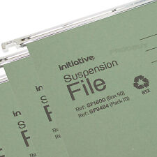 100 Green Foolscap Hanging Suspension Files Tabs Inserts Filing Cabinet Folders