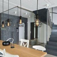 Geometric Pendant Metal Lamp Guard Vintage Ceiling Light Lamp Shade Iron Cage
