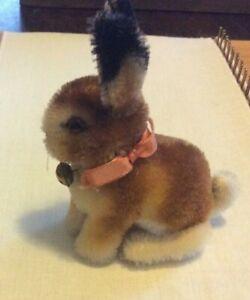 "Steiff Sitting Bunny Rabbit - 4"" - Button in Ear, Ribbon & Bell on Neck"