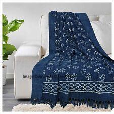 Cotton Handmade Throw Blanket Ultra Soft Hand Block Printed Shawl With Tassels