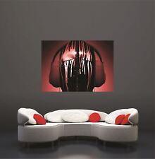 DJ Decks Headphones Paint Drips Red Giant Poster