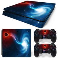 PS4 Slim Space Galaxy Console & 2 Controllers Decal Vinyl Art Skin Wrap Sticker