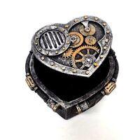 Decorative Box Steampunk Heart Shaped Metallic Gears Rivets Trinket Jewelry Box