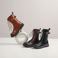 Womens Fur Lined Ankle Boots Leather Low Heels Lace Up Round Toe Buckle Shoes