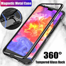 For Huawei P20 Pro Magnetic Adsorption Metal Case Tempered Glass Cover Black