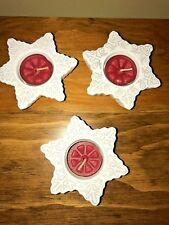 Set of 3 PartyLite White Snowflake Tealight Holders