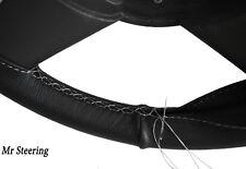 Pour Land Rover Series 2 58-61 Noir en Cuir Volant couvrir surpiqûres blanches