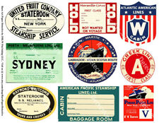 9 STEAMSHIP LUGGAGE STICKERS & Cabin Pass Decals, 1 Sheet, Travel REPRODUCTIONS