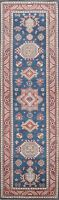 Vegetable Dye Hand-Knotted Super Kazak Runner Rug Geometric Oriental Carpet 3x9