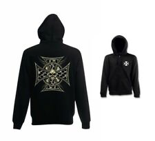 Sweatshirtjacke schwarz Biker -,Gothik-& Tattoomotiv Modell Skull Cross Chain