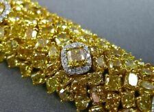 ESTATE MASSIVE GIA 51.38CT WHITE & FANCY YELLOW DIAMOND 18K GOLD TENNIS BRACELET