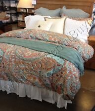 Pottery Barn Paloma Duvet Cover Orange Queen 2 Standard Shams Fl 3pc