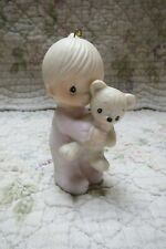 Precious Moments Ornament Babys 1st First Christmas 1981 Boy with Bear