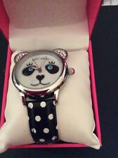 $75 Betsey Johnson Panda Bear Face Watch Black Polka Dot Band BJ00628-01 WB14