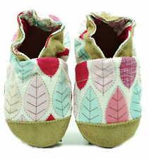 Baby Krabbelschuhe, Kinderhausschuhe, Baumwolle L Gr. 21/22 Blätter