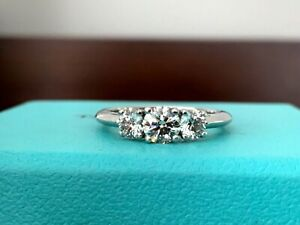 Tiffany & Co Platinum Round 3 STONE Diamond Engagement Ring .84 Ct I VS $7k NEW