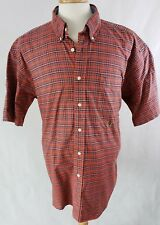 Vtg Tommy Hilfiger XL Short Sleeve Button Down Casual Shirt Plaid Red Green