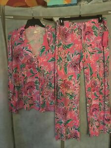NWT LILLY PULITZER PJ Knit Set Top & Pants Paws For A Cause XL  Free Ship