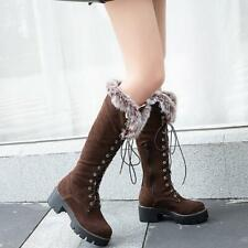 Womens Snow Boots Fur Lined Winter Warm Knee High Boot Outdoor Lace-Up Zip Shoes