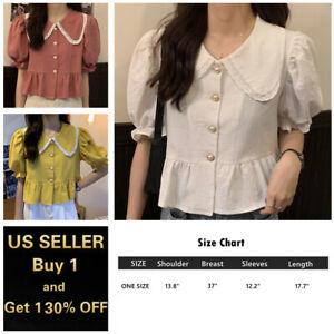 Women Cotton Short Sleeves Cropped Blouse Shirt Top Peter Pan Collar Puff Sleeve