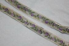 "$1 yard Cream Lavender purple woven jacquard ribbon 1/2"" wide w53"