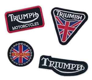 Triumph Motorcycle biker Union jack badges Iron or Sew on Embroidered Patch