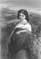 PRETTY CUTE YOUNG COUNTRY FARM GIRL & Basket of FERNS ~ 1873 Art Print Engraving