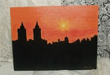 "Original Acrylic New York ""Silhouette of the Twin Towers"" Meredith Estes Pre-911"