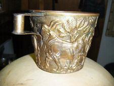 rare bull antique Brass bull embossed mug handmade brass mug with bull motif SEE