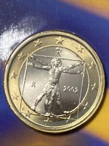 2002 1€ ITALY 1 Euro Bimetallic Coin Leonardo Da Vinci Uncirculated KM#216
