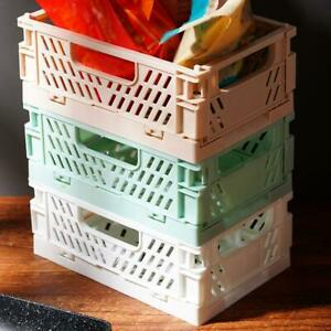 1* Collapsible Crate Plastic Folding Storage Box Basket Desktop Containers NICE