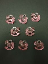 8 Pink Rocking Horse Baby Shower Table Decorations, Necklace Pendant Games