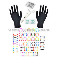 70x PRO 16G Body Piercing Needle Lip Plastic Nose Eyebrow Ring Forcep Clamps Kit