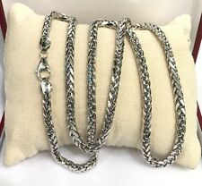 """18k Solid White Gold Man Big Wheat Chain/Necklace Dimond Cut. 26"""". 18.80 Grams"""