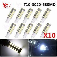 10X T10 LED 68SMD Car Backup Reverse Light Bulb 194 192 168 W5W Cool White 6000K
