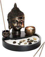 Buddha Statue Zen Garden Kit with Incense Burner and Tealight Candle Holder