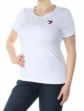 TOMMY HILFIGER Womens White Embroidered Short Sleeve T-Shirt Top XL