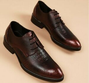 Alligator Pattern Mens Cuban Leather Casual Business Dress Oxfords Shoes Lace Up