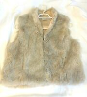 Nine West Faux Fur Sleeveless Vest Womens Size L LARGE lined zipper pockets