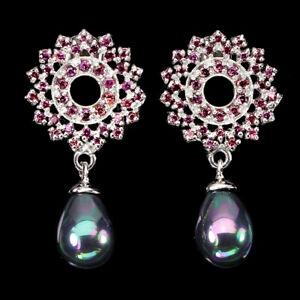 Unheated Round Rhodolite Garnet Mother Of Pearl 925 Sterling Silver Earrings