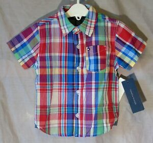 NEW! Baby Boys Tommy Hilfiger Red Blue Check Short Sleeve Shirt Age 12-18 Months