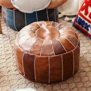 Retro Round Moroccan Faux Leather Ottoman Pouffe Pouf Footstool Unstuffed